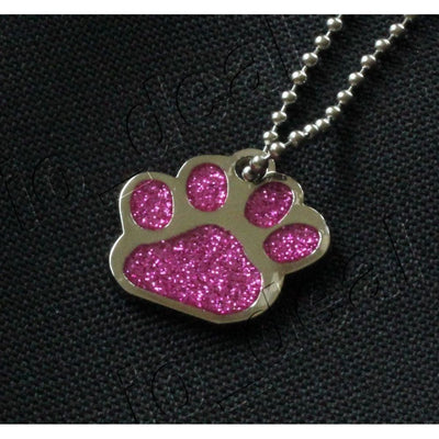Glitter Paw Custom Pet Id Tags - Pink