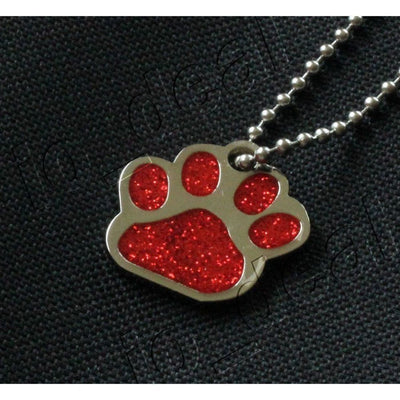 Glitter Paw Custom Pet Id Tags - Red