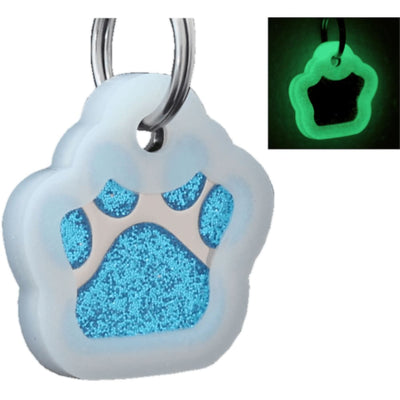Glitter Paw Custom Pet Id Tags - Turquoise + Silencer