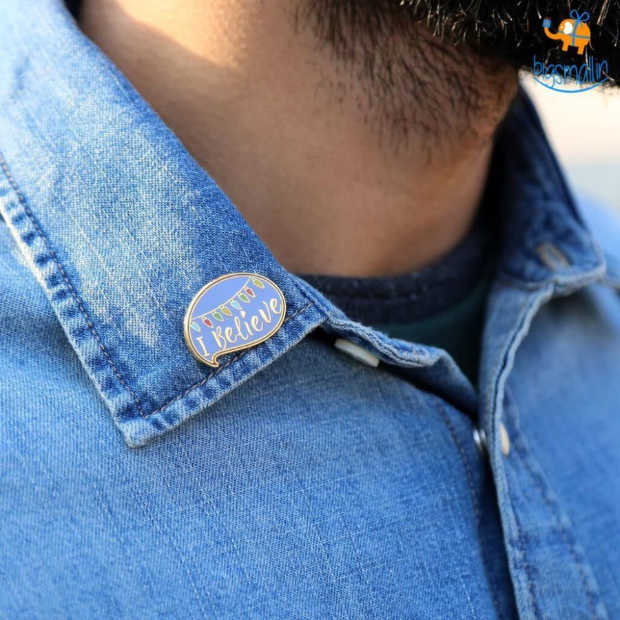 I Believe Metallic Lapel Pin - Brooch