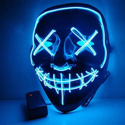 Nightcore Led Power Stitches Night Huntsman Purge Mask - Blue - Led Mask