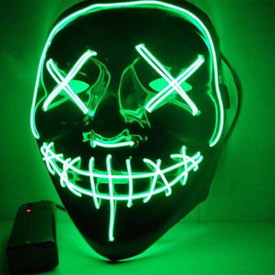 Nightcore Led Power Stitches Night Huntsman Purge Mask - Green - Led Mask