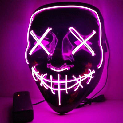 Nightcore Led Power Stitches Night Huntsman Purge Mask - Purple - Led Mask