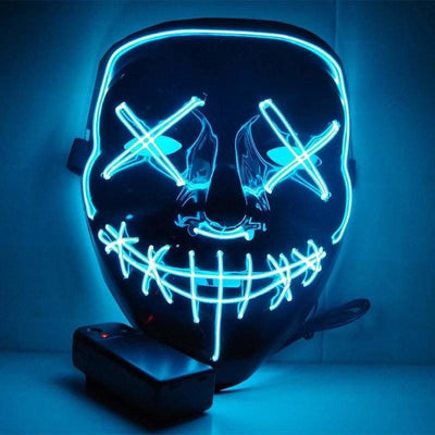 Nightcore Led Power Stitches Night Huntsman Purge Mask - Sky Blue - Led Mask