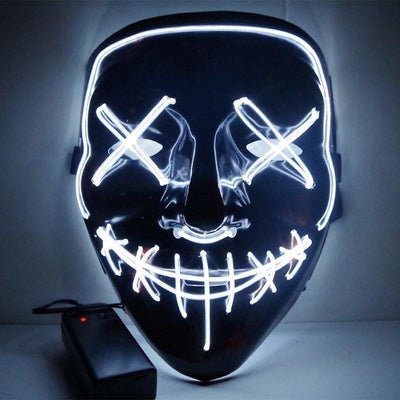 Nightcore Led Power Stitches Night Huntsman Purge Mask - White - Led Mask
