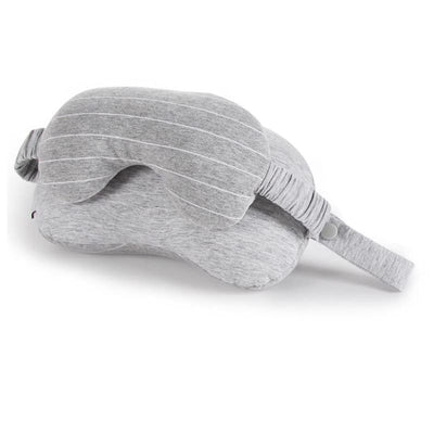 Travel Mask And Pillow Neck Eye Cushion Sleep Rest And Support - Light Grey 2 In 1