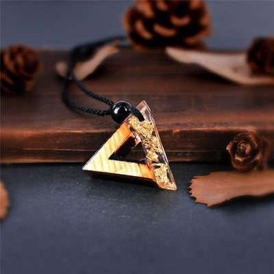 Triangle Wood Resin Necklace - Amazon