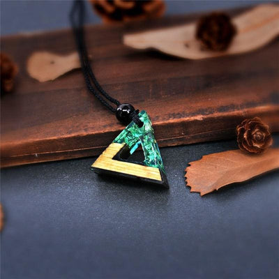 Triangle Wood Resin Necklace - Ocean