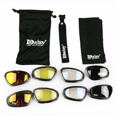 Usa Military Grade 4-In-1 Uv400 Polarized Sunglasses Set - Biker