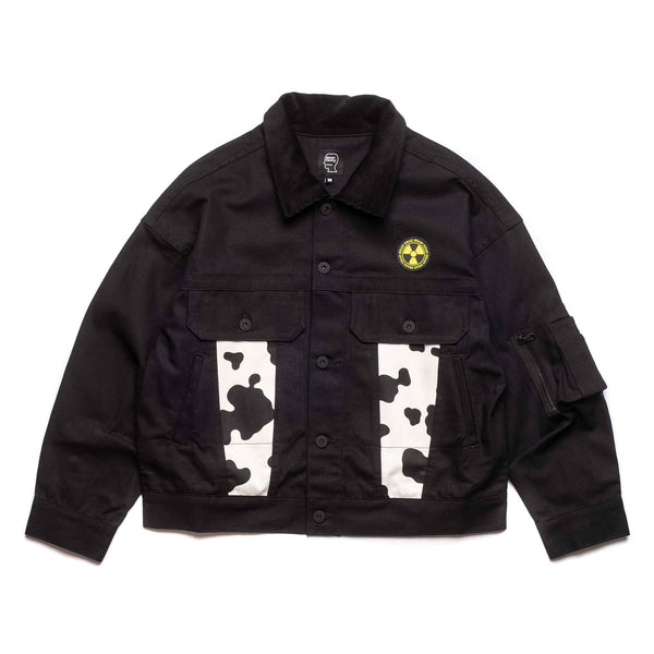 Cow Club Trucker Jacket - Black/Cow