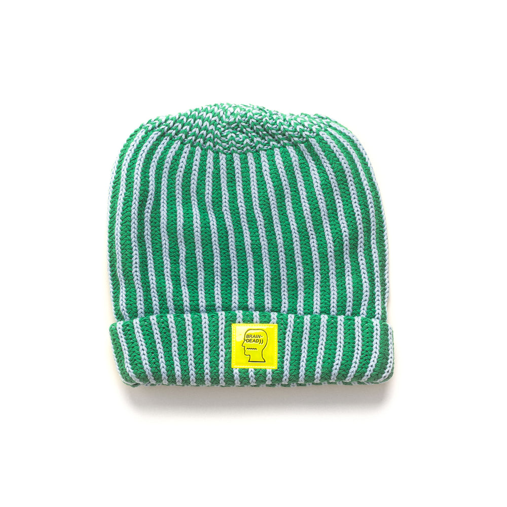 Logo Patch Beanie - Green/Baby Blue