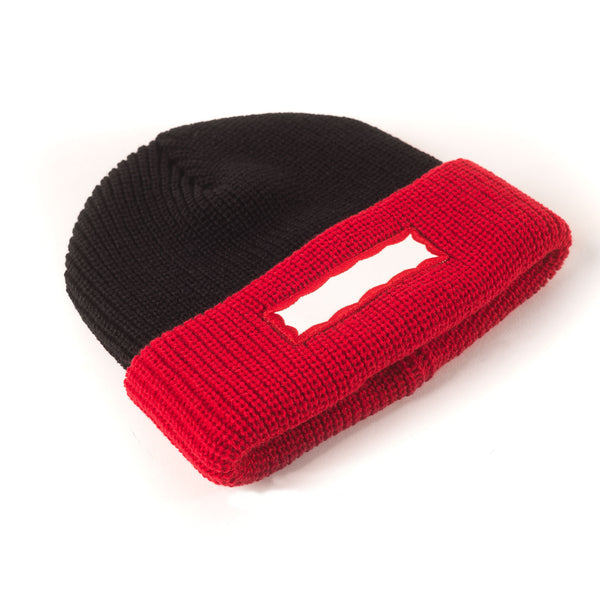 Side Frame 2Tone Beanie - Black/Red