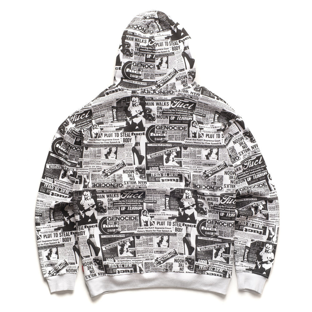 Newsprint Fleece Top - Black/White