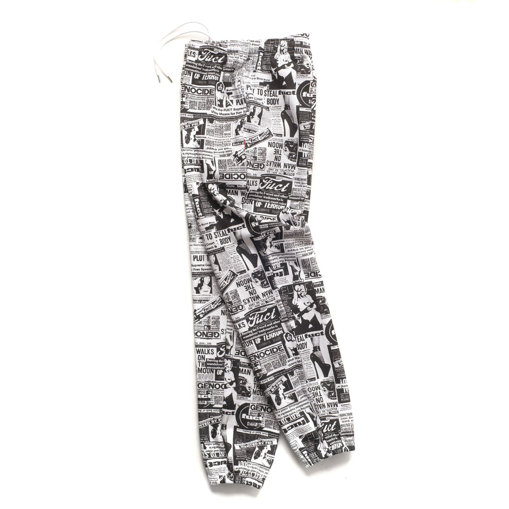 Newsprint Fleece Pants - Black/White