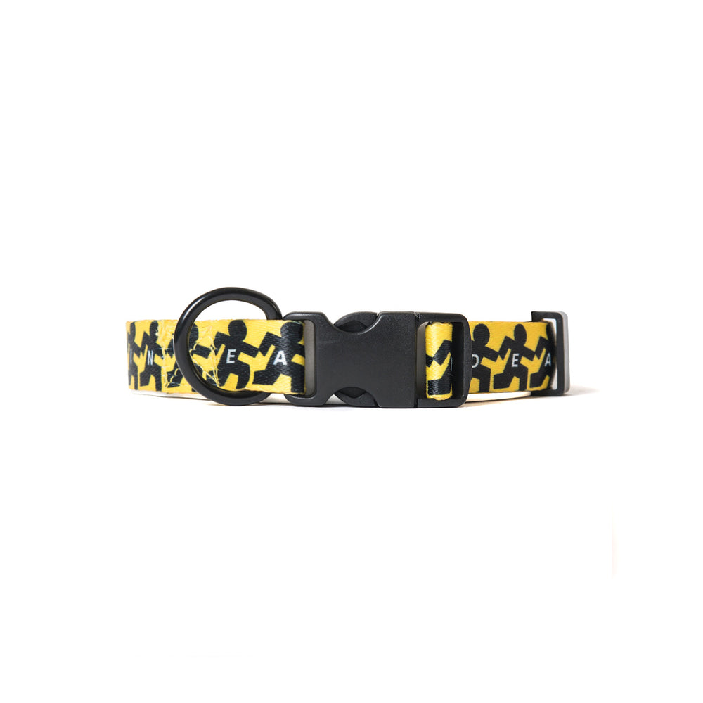 Running Man Dog Collar - Yellow