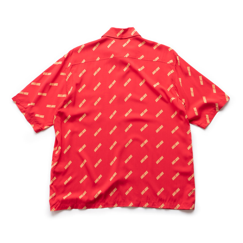 Logo Print Bowling Shirt - Red