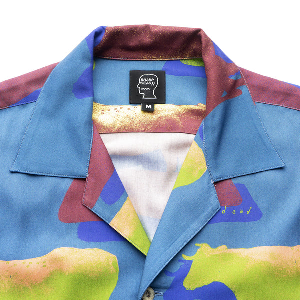 Cow Print SS Button Down Shirt - Multi