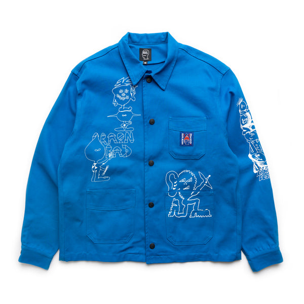 Printed Canvas Chore Coat - Blue