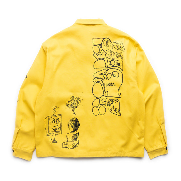 Printed Canvas Chore Coat - Yellow