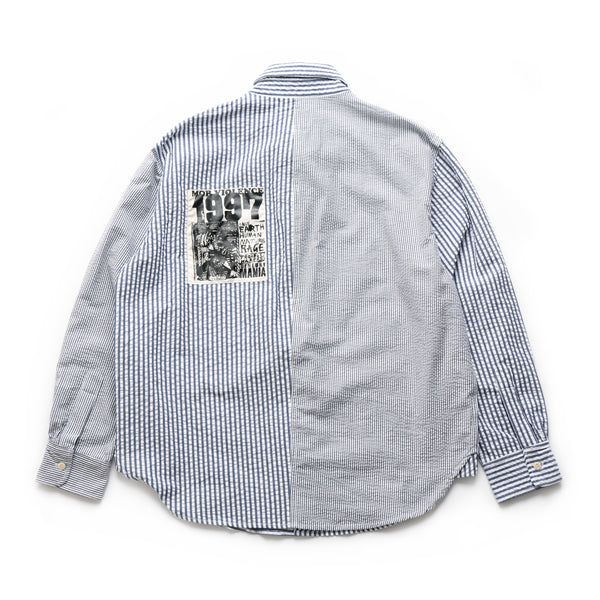 Paneled Button Up - Navy/White
