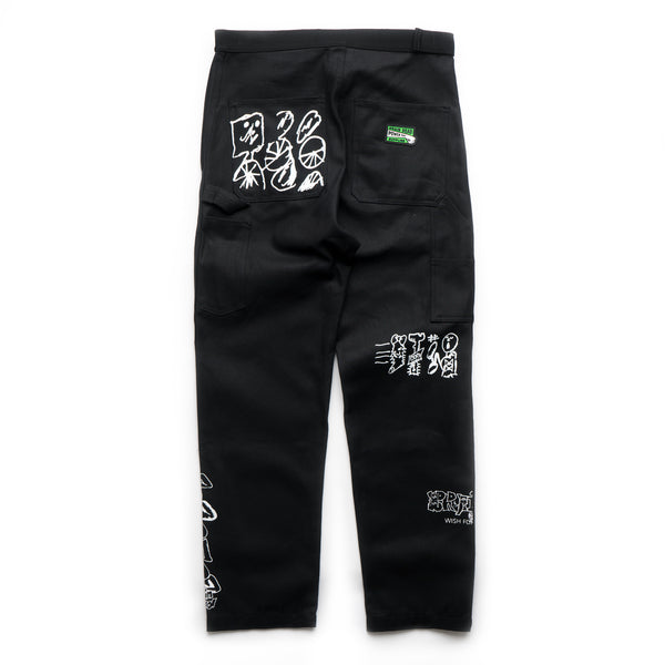 Printed Canvas Carpenter Pant - Black