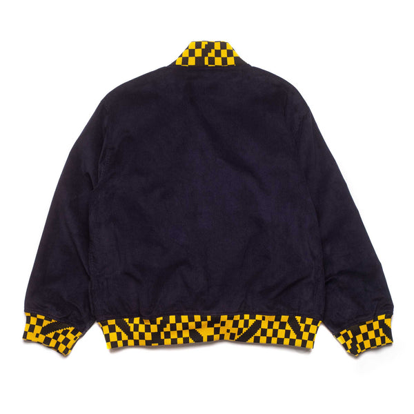 Corduroy Letterman Jacket - Navy / Yellow