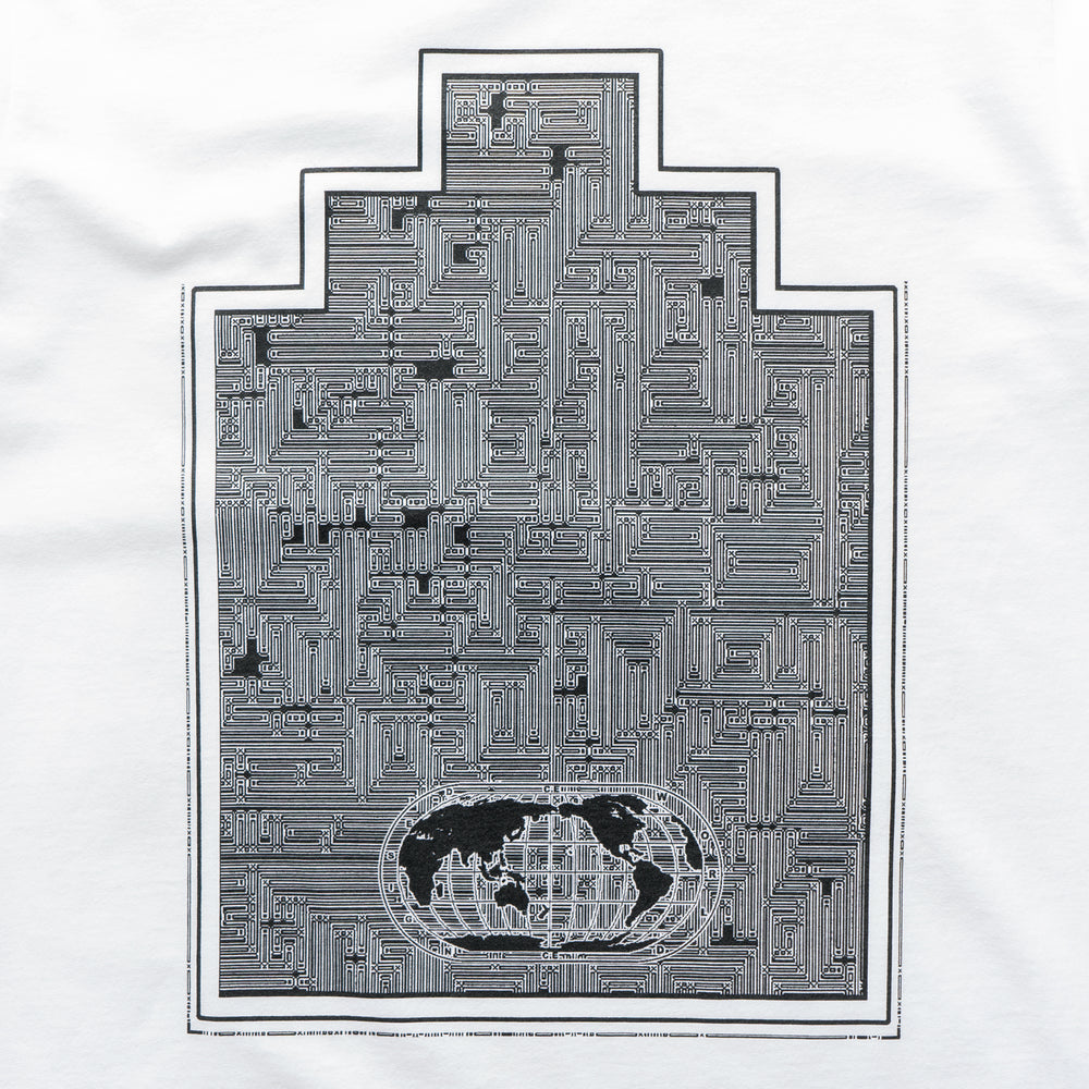 World Map Ziggurat Tee - White