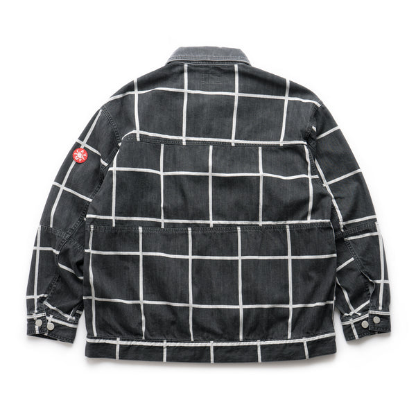 Grid Black Denim Jacket - Black