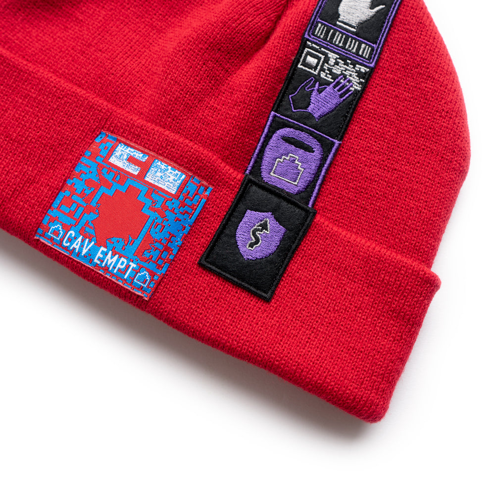 Patched Knit Cap - Red