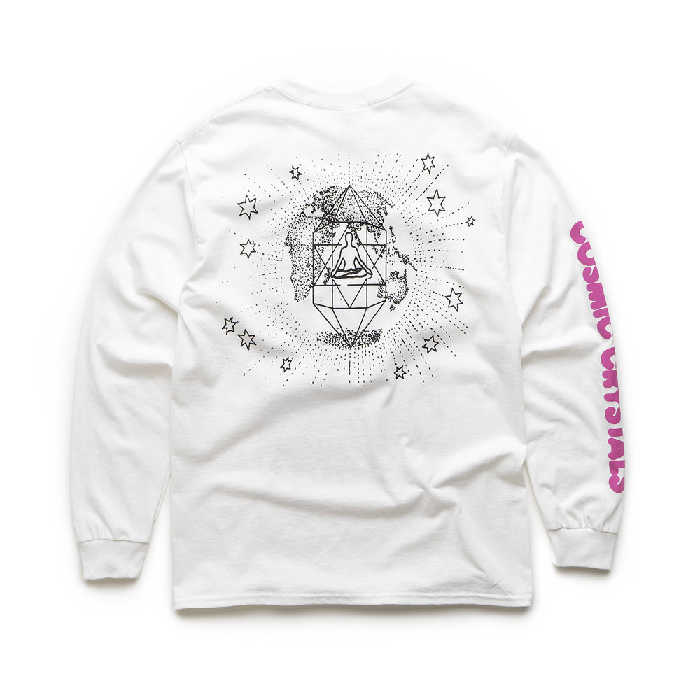 Cosmic Crystals LS Tee - White