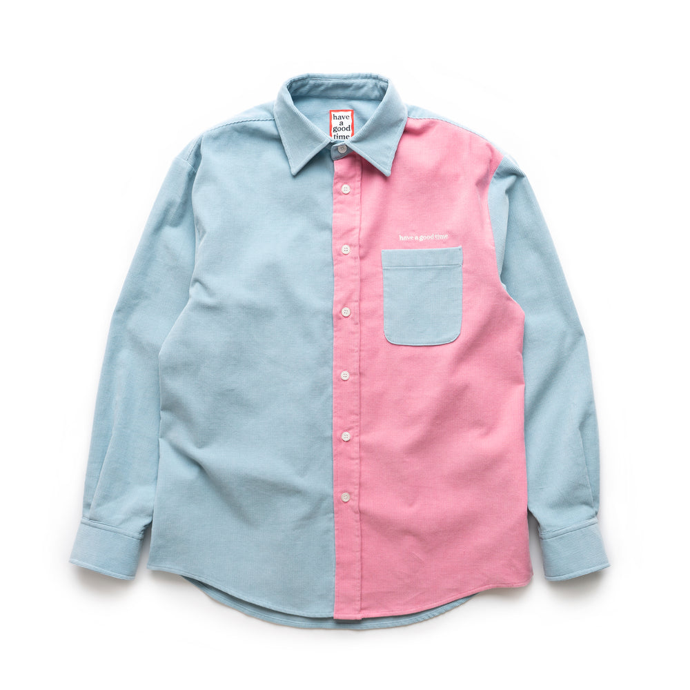 Corduroy Work L/S Shirt - Light Blue/Pink