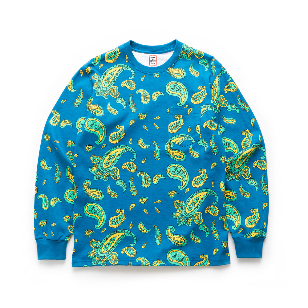 Paisley Pocket L/S Tee - Deep Blue