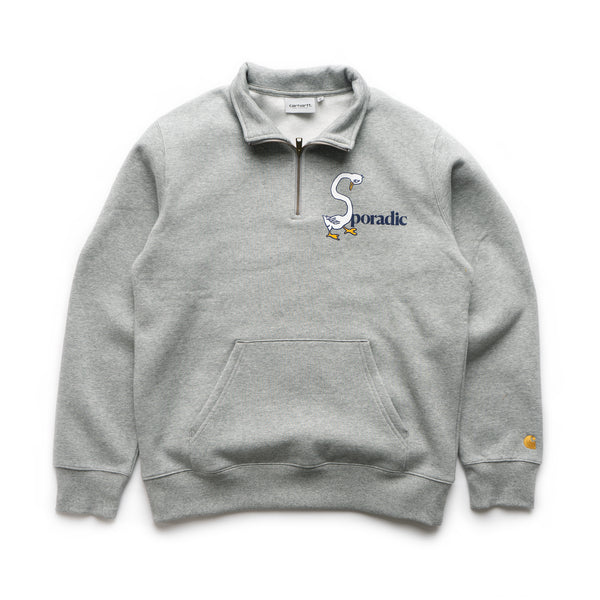 Goose Neck Half Zip Sweat - Heather Grey