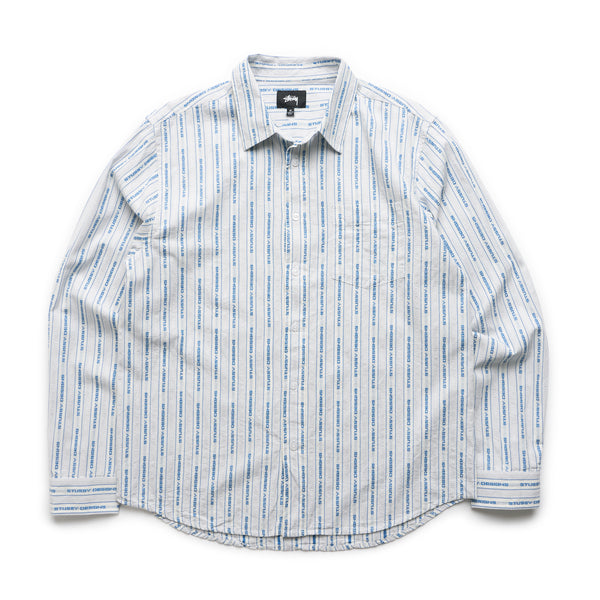 Jacquard Logo Stripe Shirt - White