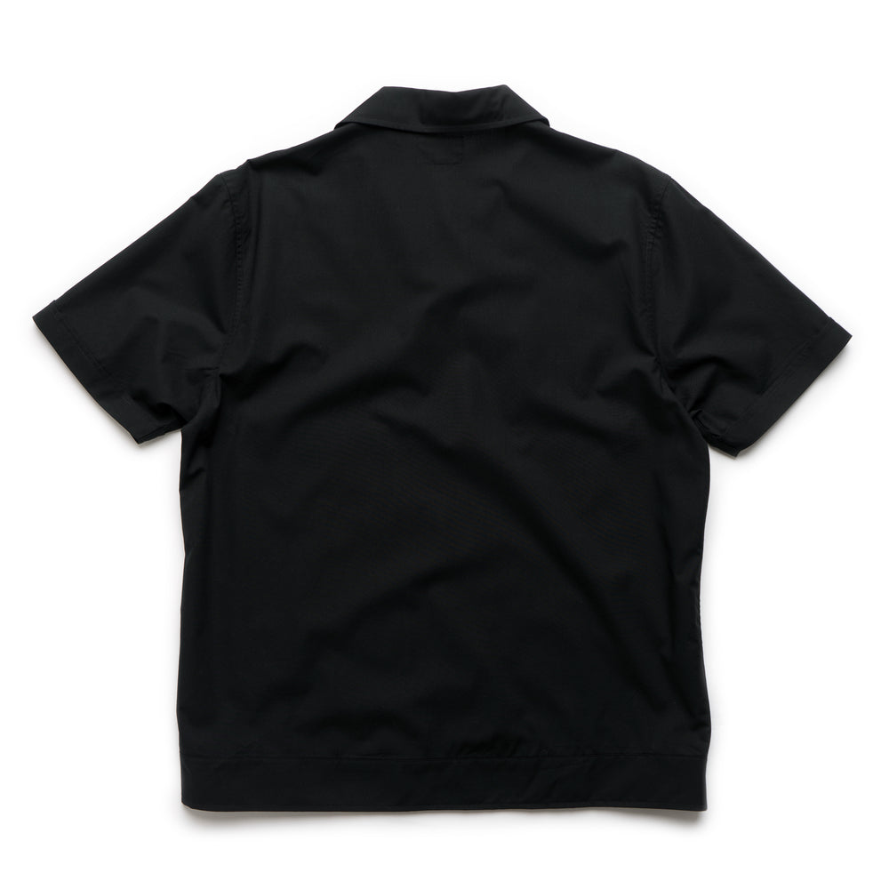 Striped Knit Panel Shirt - Black