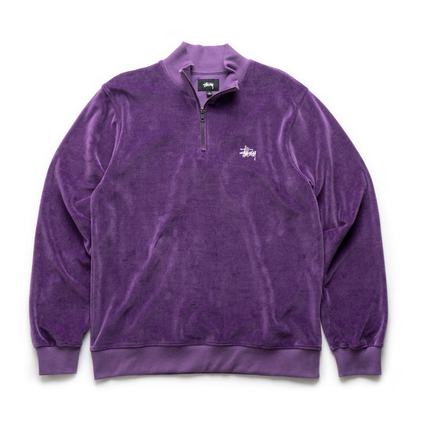 Velour L/S Zip Mock - Purple