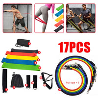 17pc Fitness Rally Pulling Rope Latex Elastic Bands