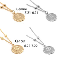 Zodiac Sign Constellation Carve Coin Pendant Beads Necklace - MegaaMobileMall
