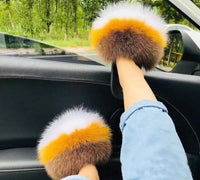Luxury Fur Slippers Women Faux Fur Slides Furry Flat Sandals - MegaaMobileMall