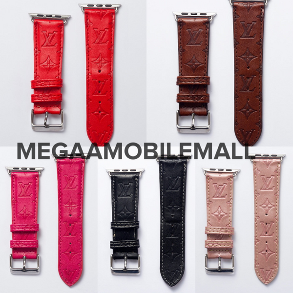 LV Deboss Leather Apple Watch Band