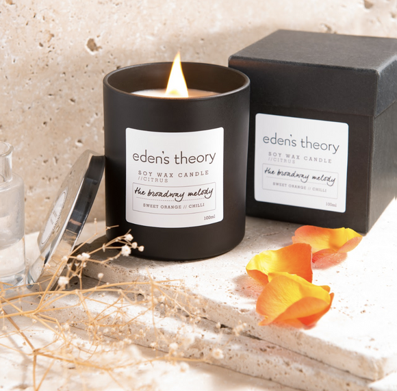 Eden's Theory soy wax candle vegan, all-natural, wood wick