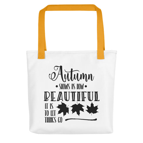 Autumn Let Things Go Tote bag - Inspired Zen, LLC