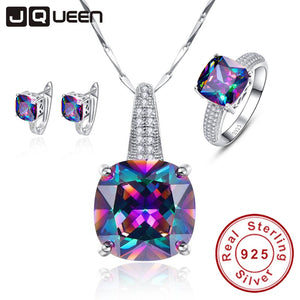 Mystic Fire Rainbow Topaz Jewelry Set, 925 Sterling Silver - Inspired Zen, LLC