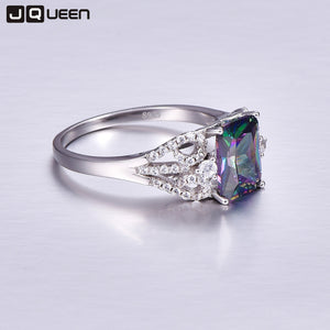 3ct Mystic Fire Rainbow Topaz Ring, 925 Sterling Silver Ring - Inspired Zen, LLC