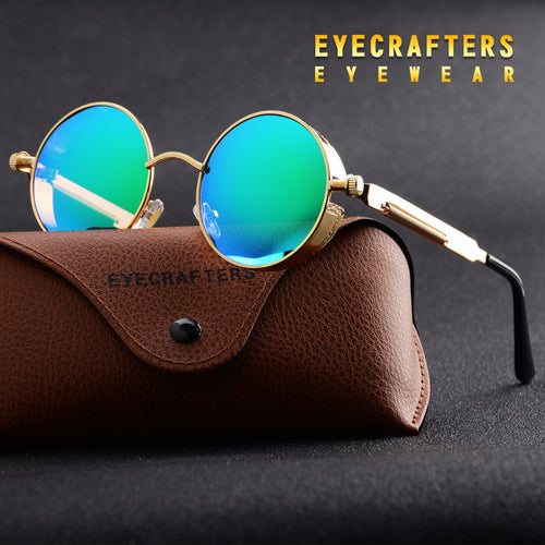 steampunk polarized sunglasses sitting on case