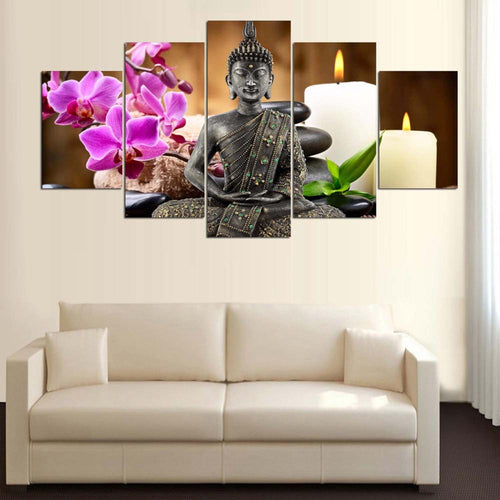 5 panel canvas Buddha paintings wall art with sofa-Inspired Zen