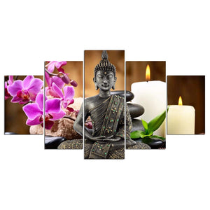 5 Panel Buddha Wall Art, with or without frame available - Inspired Zen, LLC