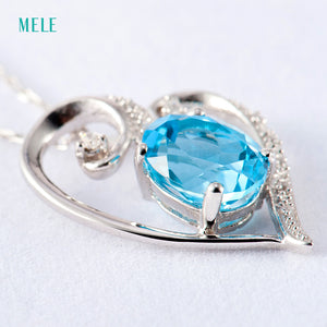 Natural Blue Topaz Silver Pendant - Inspired Zen, LLC