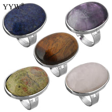 Natural stone oval rings