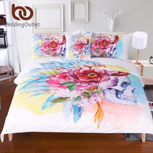 Colorful Skull and Floral Duvet Set, several sizes available - Inspired Zen, LLC